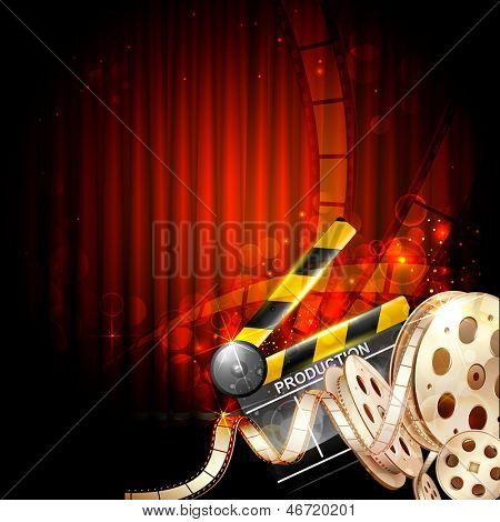 illustration of Cinema background with clapper board and film reel