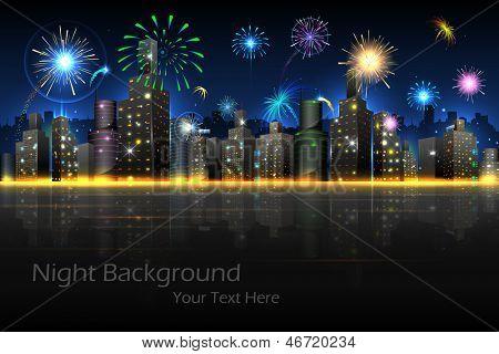 afbeelding van vuurwerk in nacht uitzicht op stad