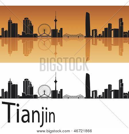Tianjin Skyline In Orange Background