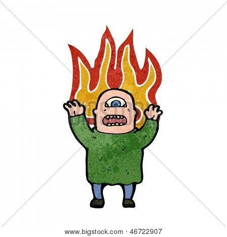 hombre de ogro mutante en dibujos animados de fuego