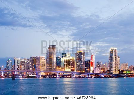 CIty of Miami Florida summer sunset panorama