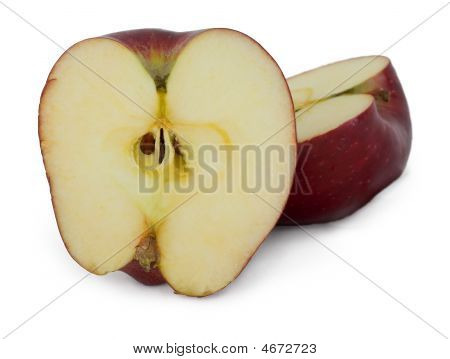 The Cut Apple On A White