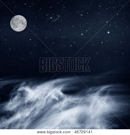 Black And White Clouds And Moon