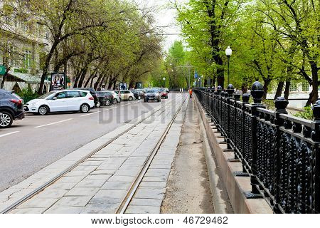 Roadway Of Chistoprudniy Boulevard In Moscow