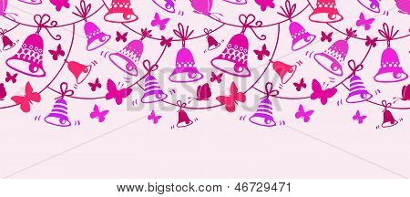 Bells and butterflies horizontal seamless pattern background border