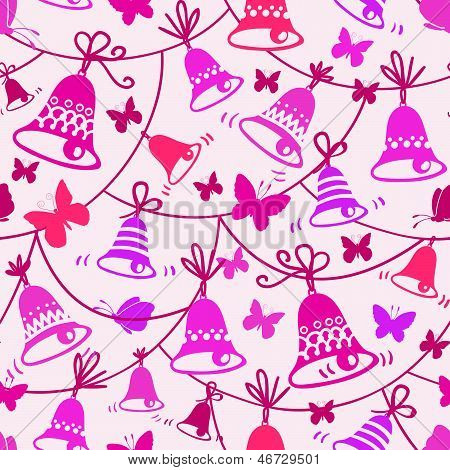 Bells and butterflies seamless pattern background