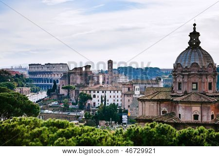 View Of Coliseum From Capitol Hill, Rome