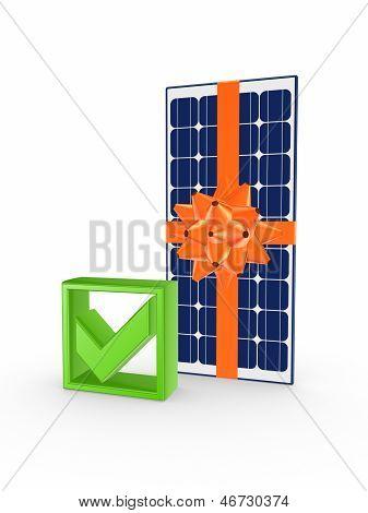Solar battery and tick mark.