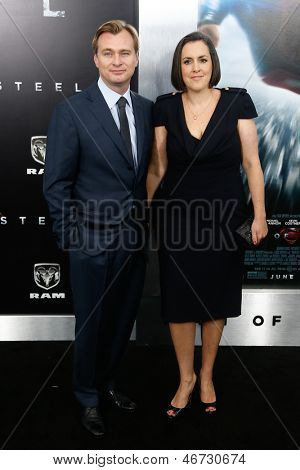 "NEW YORK-JUNE 10: Director Christopher Nolan and wife Emma Thomas attend the world premiere of ""Man of Steel"" at Alice Tully Hall at Lincoln Center on June 10, 2013 in New York City."