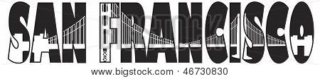 San Francisco Golden Gate Bridge Text Outline Illustration