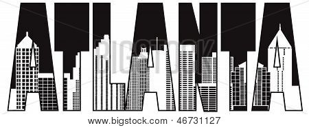 Atlanta Georgia City Text Outline Illustration