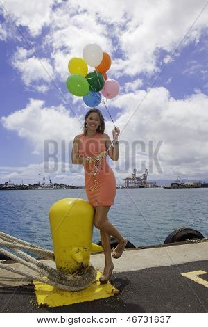 Fashionable Woman With Balloons
