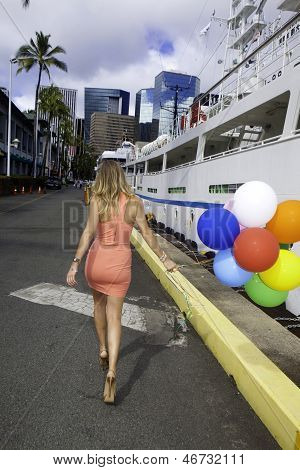 Woman With Balloons Walking