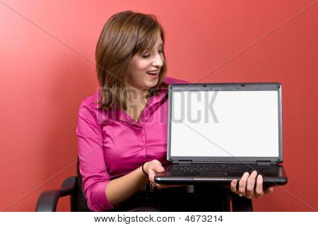 Woman Showing Her Screen