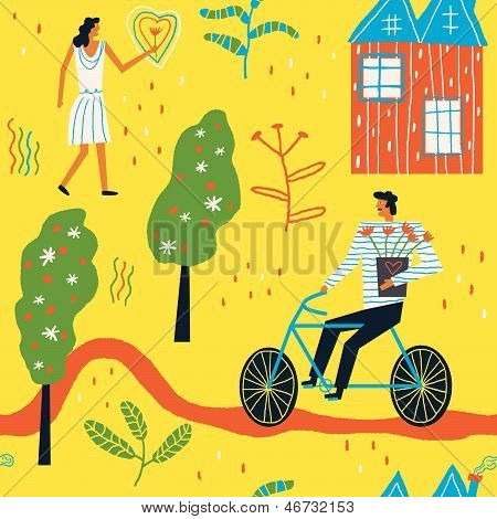 girl in love and a man on a bicycle with flowers vector seamless background