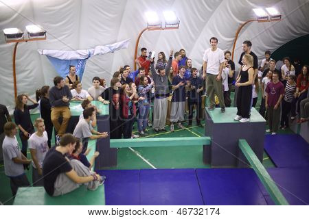 MOSCOW - NOV 17: Participants of the 5th parkour contest to move at the University of Physical Education, Max Attack: Death Circle, on Nov 17, 2012 in Moscow, Russia