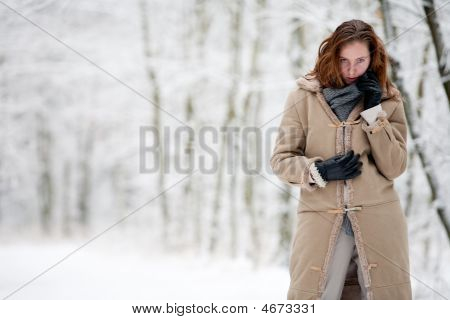 Winter Landscape Beautiful Woman In White Landscape