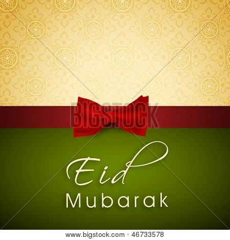 Greeting card or gift card for occasion of Muslim community festival Eid Mubarak.