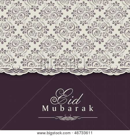 Greeting card or gift card for Muslim community festival Eid Mubarak.