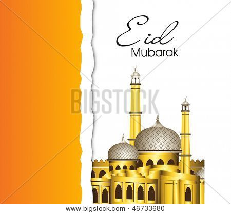 Greeting card or gift card for Muslim community festival Eid Mubarak with view of golden mosque.