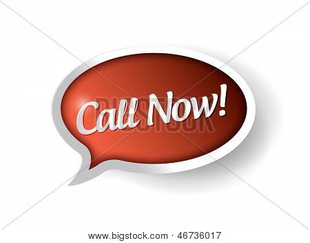 Call Now 3D Red Banner Illustration
