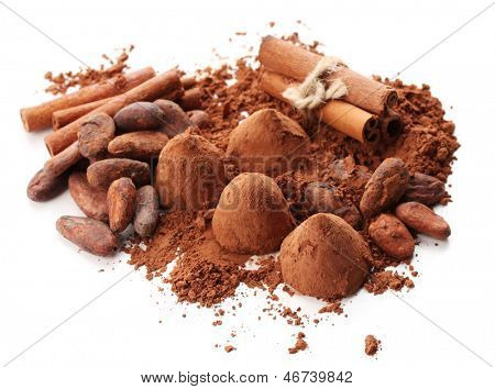 Chocolate truffles, cocoa and spices isolated on white