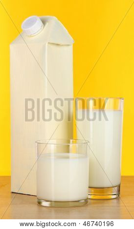 Milk pack on table on yellow background