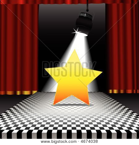 Star Copyspace In The Spotlight On Disco Checkerboard Floor