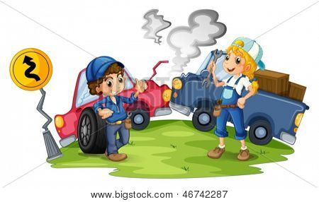 Illustration of a male and a female mechanic fixing the damaged cars on a white background