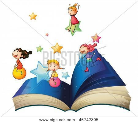 Illustration of a book with children playing on a white background