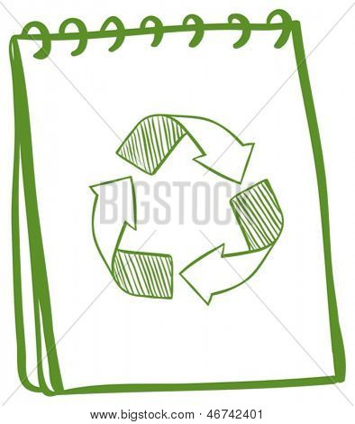 Illustration of a notebook showing the recycle signs on a white background