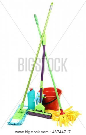 Mops, plastic bucket and rubber gloves, isolated on white