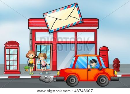 Illustration of an orange car in front of the post office