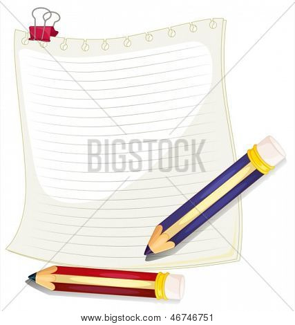 Illustration of an empty paper with a clip and two pencils on a white background