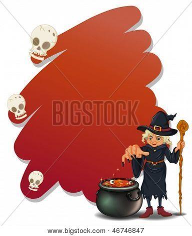 Abbildung einer Hexe mit einem magischen Topf und einen Stock auf weißem Hintergrund
