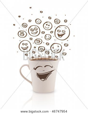 Coffee-cup with brown hand drawn happy smiley faces, isolated on white