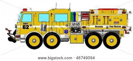 Yellow Brush Wildland Fire Truck