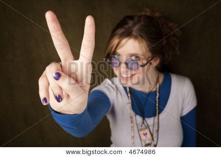 Girl Making Peace Sing