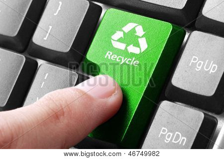 Green Recycle Button On The Keyboard