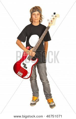 Rocker Teen Boy With Bass Guitar