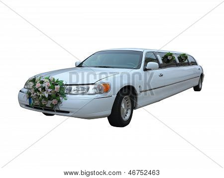 White Wedding Limousine For Celebrities And Special Events Isolated