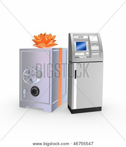 Iron safe and ATM.