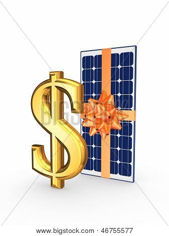 Solar battery and symbol of dollar.