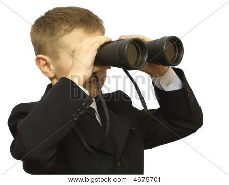 Child In A Business Suit With The Field-glass