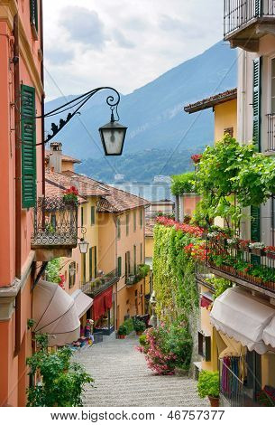 Picturesque Small Town Street View In Lake Como Italy