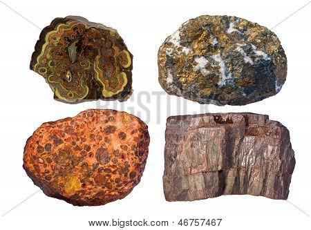 Ores Of Zinc And Lead (upper Left), Copper (upper Right), Aluminum, And Iron