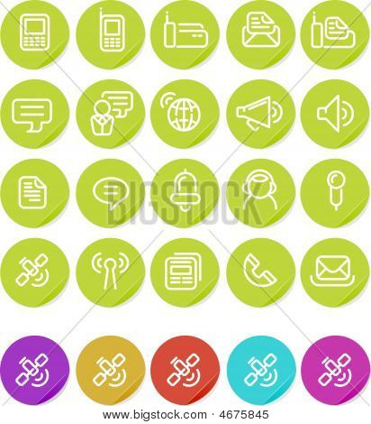 Plain Stickers Icon Set: Communications
