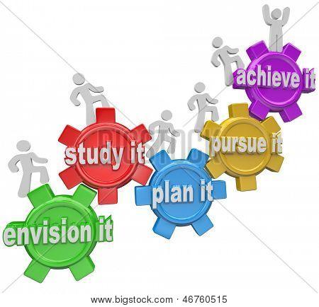 Las palabras Envision, estudiarlo, planearlo, perseguirlo y lograrlo dentro de engranajes y gente de escalada