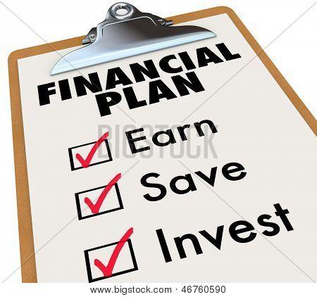 Uma prancheta com um plano financeiro e as caixas de seleção ao lado das palavras Earn, Save e investir para illustrat