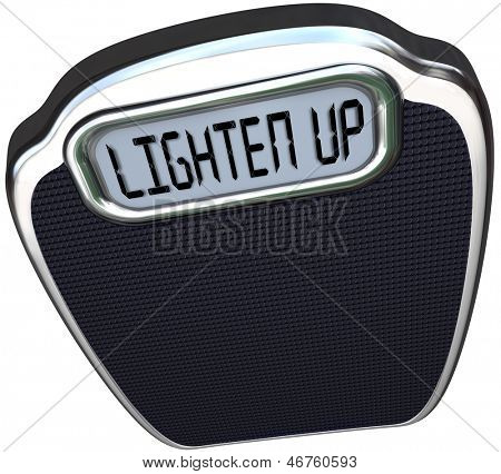 Lighten Up words on scale encouraging you to cheer your mood and lose weight to become lighter and healthy